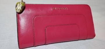 正規 ブルガリ セルペンティ スネーク装飾 L字型ラウンドジップ長財布 赤系ピンク
