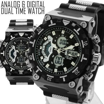 NEW★アナログ&デジタル・ビッグフェイス★腕時計SMB3BK