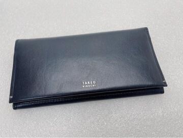 D412 極美品★ タケオキクチ 長財布 本革 ブラック メンズ