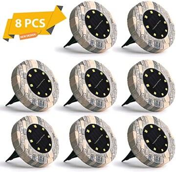 電球色 ソーラーライト Jorft 8個セット32LEDの 光センサーで夜