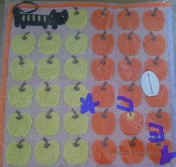 ツモリチサト ハンドタオル 猫&林檎柄 オレンジ 新品 未使用
