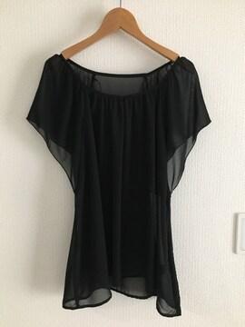 シフォン トップス 半袖 Tシャツ 黒 ブラック レディース ユニクロ ジーユー GU