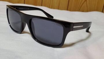 正規レア プラダ エンブレムロゴ ウェリントンサングラス黒 メタルアイコン クラシックフルフレーム