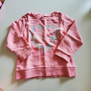 ピンク無地に花模様、長袖トレーナー100