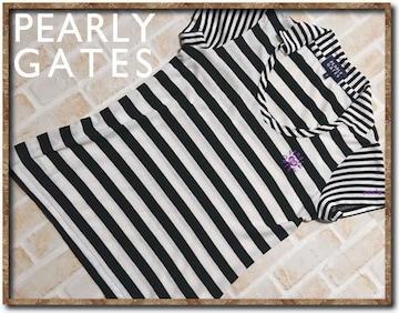 パーリ−ゲイツ 刺繍入りボーダーカットソー 白×黒