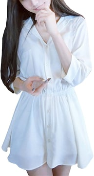 お試し2290円★超人気 チュニック ワンピース 白L