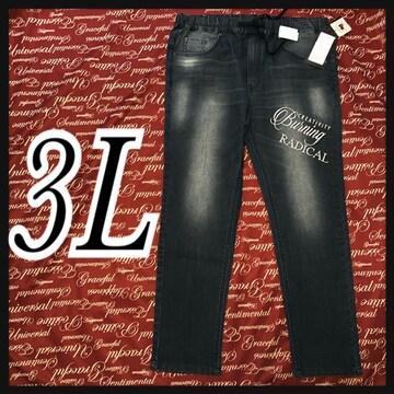 3L・英字刺繍入りデニムパンツ新品/MCS-102