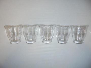 カップ グラスコップタンブラー無地内側縦畝クリア5点セット新品