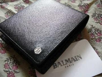 ピエールバルマン マークプレート 黒牛革折財布 男性用