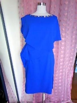 高級ブランド ソブレ胸元キラキラビジュケープデザイン 上品ドレスワンピ