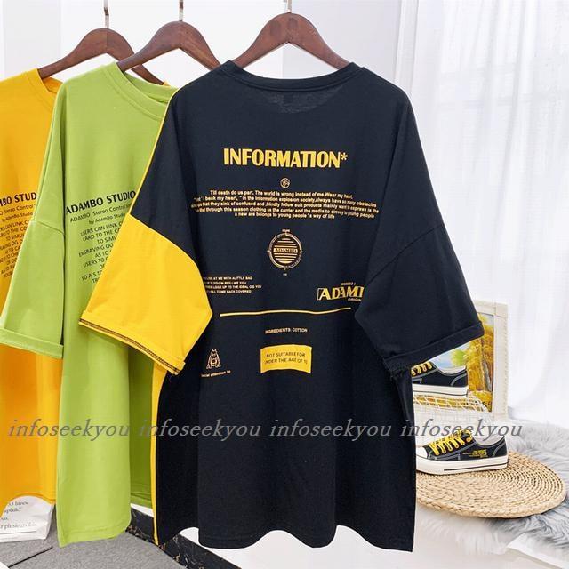 3L4L大きいサイズ/バックロゴ切替Tシャツ/黒カラシ < 女性ファッションの