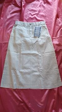 裾切りっ放しカットオフお洒落☆白ホワイトデニムロングスカート