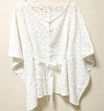 【美品】花柄レースポンチョ/GU/ホワイト/M/サテンリボン