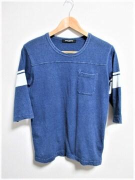 ☆ナノユニバース ヴィンテージ加工 デニム地 7分袖 Tシャツ/メンズ/S