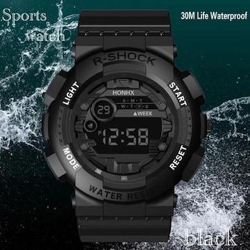 スポーツ腕時計 LED デジタル 腕時計 ミリタリー 耐久性 黒