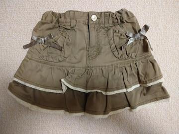 anyFAM☆リボン付きフリルスカート 100 茶