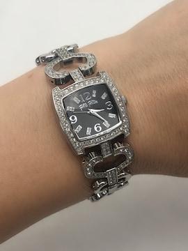 T060  フォリフォリ 腕時計 ラインストーン 黒文字盤 レディース