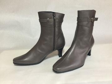ブロンズ・ブラウン/革 6cmヒール ショート・ブーツ 23.5 日本製