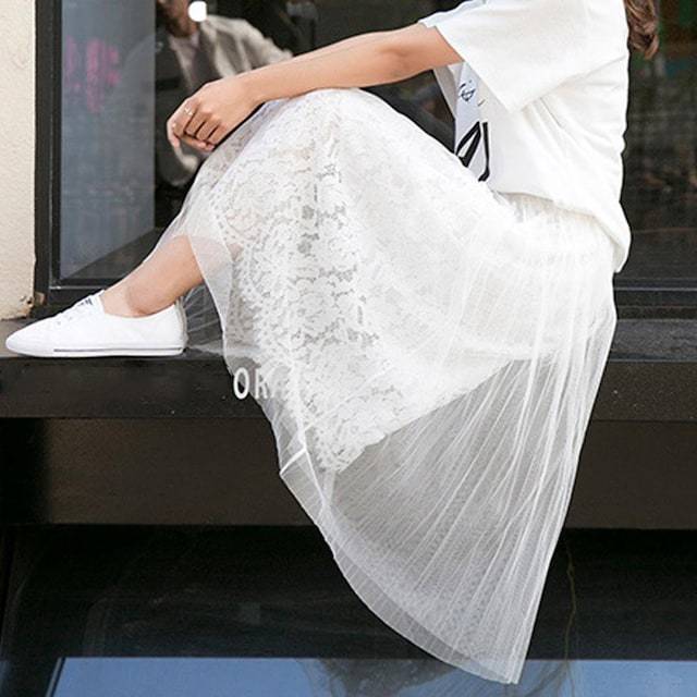 花柄レーススカート レディース メッシュスカート ロング < 女性ファッションの