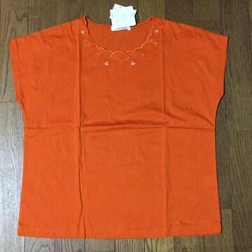 オレンジ 海のキラキラ刺繍が素敵なフレンチスリーブTシャツ L