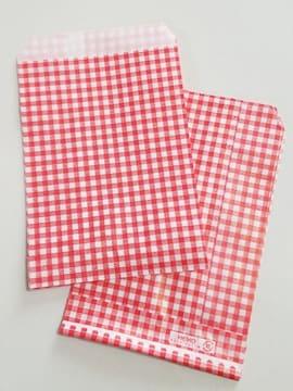 R85サイズ平袋★チェック赤紙袋☆10枚