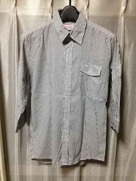 チャオパニック ストライプ柄 長袖 七分袖シャツ Sサイズ 白×黒 日本製 古着