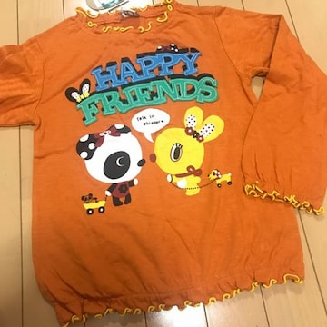 新品 レトロ可愛い長袖Tシャツ 130 オレンジ ぱんだ パンダ