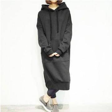 新品[7665]5XL(大きいサイズ)黒裏起毛ロング丈パーカー