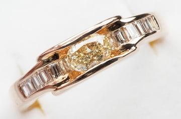 【鑑別】K18PG 中石 0.333ct ダイヤモンド リング 14.5号