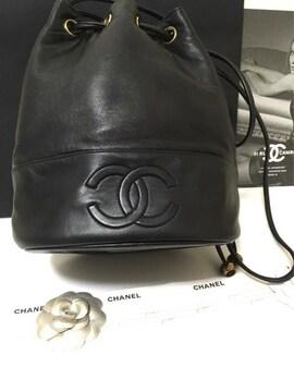 美品 シャネル デカココ ショルダーバッグ 巾着 ブラック 正規品