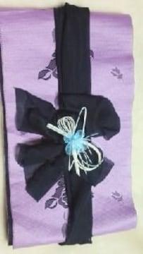 A26送込〓浴衣リボン飾り(前飾り)水引&水色お花モチーフ〓