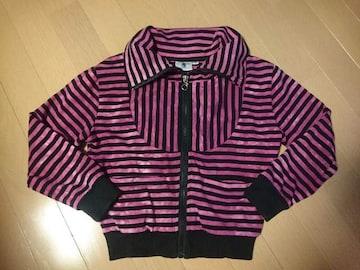 CodyCodyボーダー柄ジャケット上着アウター紫色パープル×黒色ブラックサイズ110�p