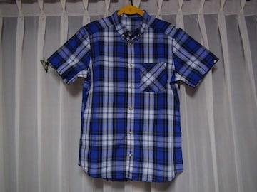 アディダスのドレスシャツ(L)青のチェック !。