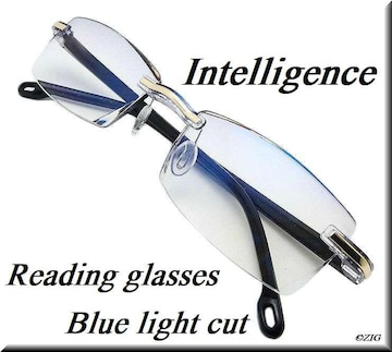 +3.5/リムレス/老眼鏡/ブルーライトカット/カットレンズglrn02bl