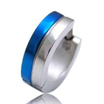 キレイめスタイリッシュブルー☆青い光沢のあるステンレスピアス
