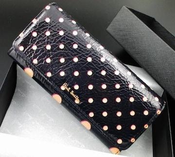 贈り物に☆新品/箱付 ポールスミス ドットデザイン 長財布 紺