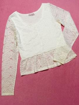 花柄レース 裾ペプラム 長袖カットソー ホワイト
