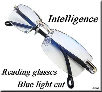 +2.0/リムレス/老眼鏡/ブルーライトカット/カットレンズglrn02bl