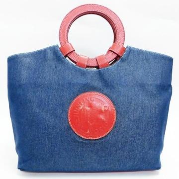 ハンティングワールド ハンドバッグ デニム 紺×赤 正規品