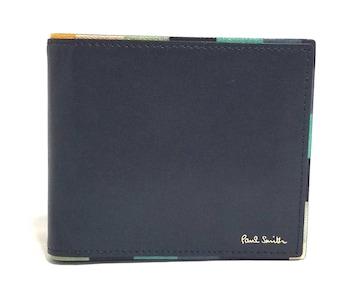 正規未使用ポールスミス財布二つ折りメンズネイビー濃紺PS
