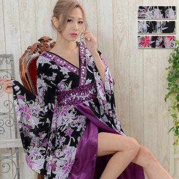 大粒ビジュー豪華使い キャバドレス 和柄 着物 ロングドレス