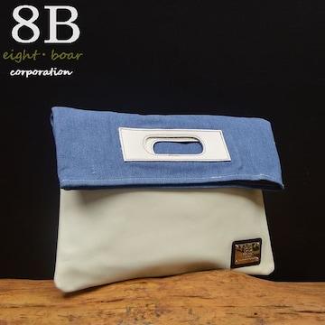 ◆8Bオリジナル 牛革×デニム クラッチバッグ メンズ 白◆b29