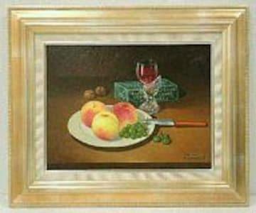 絵画 油彩 松本竹敏『桃のある静物』F6 真作保証