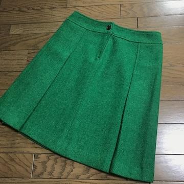 ドレステリアDRESSTERIOR グリーン緑プリーツ台形膝丈スカート