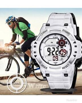 スポーツ腕時計 LED デジタル 防水 腕時計 ミリタリー ホワイト