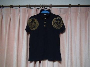 鶴亀のポロシャツ 黒 (M)!。