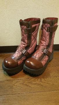 送料無料/デニムに良く合うピンク&ブラウン厚底ブーツ定価17800円の品