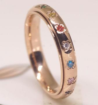指輪 18K RGP ゴールド ダイヤ CZ 七色 梵字 リング gu1398e
