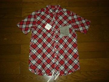 新品CASHCAカシュカチェックシャツL赤ENGLAND半袖定価半額以下