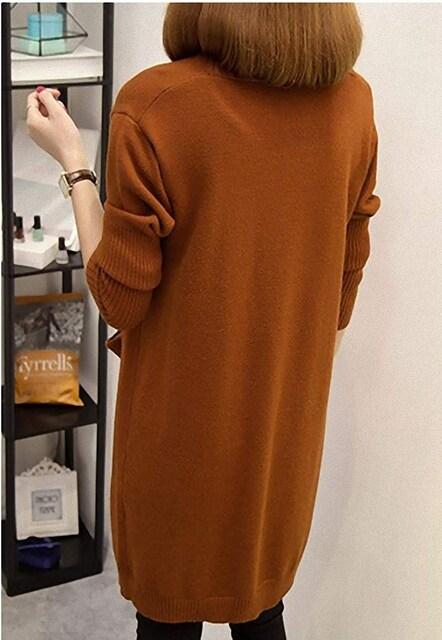ゆったり!!ロング 丈 ニット カーディガン (パープル) < 女性ファッションの